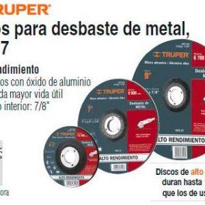 """DISCO DESBASTE METAL 4 1/2"""" X 1/4"""" 11548 TRUPER"""