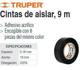 CINTA AISLAR 19MM X 18M NEGRA 12500 TRUPER